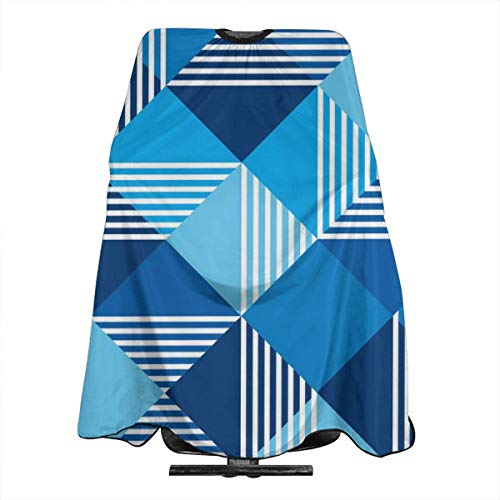 Summer Sea Blue Geometry Seamless Pattern Personalized Custom Professional Hair Salon Apron, Polyester Hair Shawl 55