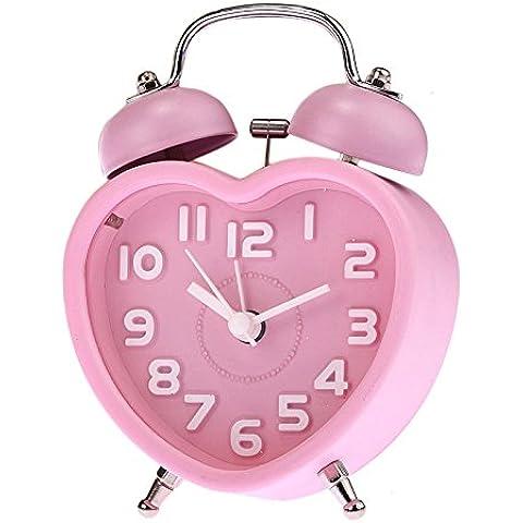 rybyte (TM) nuevo pequeño niños Mini cuarzo Reloj despertador Lovely forma de corazón reloj despertador double-bell luz de noche # EE