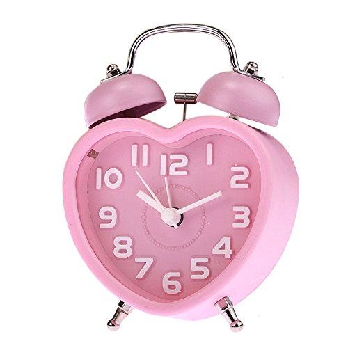 ReadiMax (TM) nuevo pequeño niños Mini cuarzo Reloj despertador Lovely forma de corazón reloj despertador double-bell luz de noche # EE