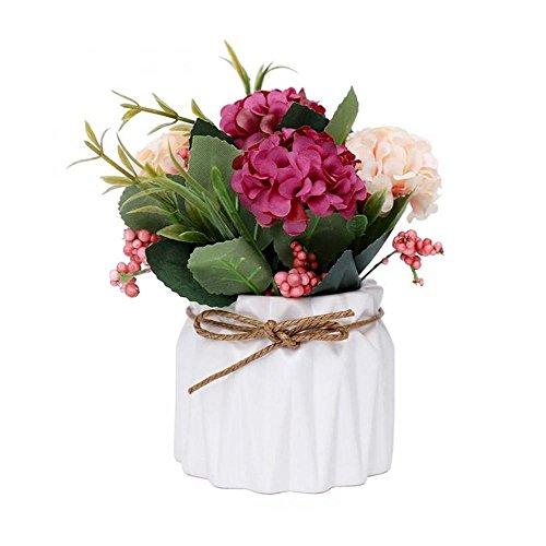 Aolvo seta bouquet di fiori in vaso, seta artificiale ortensia con vaso di ceramica Home Rope per matrimonio proposta sposa decorazione domestica e il miglior regalo Type 4