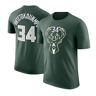 AXING NBA Men's T-Shirt Milwaukee Bucks Giannis Antetokounmpo #34 Basketball Short Sleeve Teen Loose Sports T Jersey Training Wear,green_L