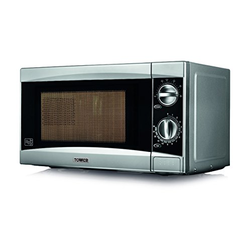 Tower Manual Solo Microwave with 6 Power Levels, 800 W, 20 Litre, Silver