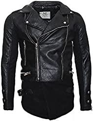 Redbridge Herren Kunstlederjacke Biker Jacke im Long-Style Design M 6010 schwarz