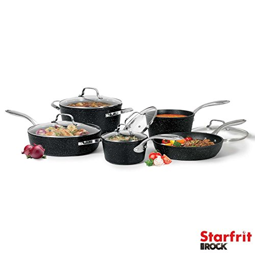 The Rock Cookware Set, 10 Piece (16 x 8.3 cm, 20 x 11 cm Saucepan with Lid; 24 x 12 cm Stock Pot with Lid; 28 x 7.5 cm Deep Fry Pan with Helper Handle & Lid; 26 x 5.5 cm Fry Pan With Lid) Oven safe up to 230°C / 450°F (even on broil)