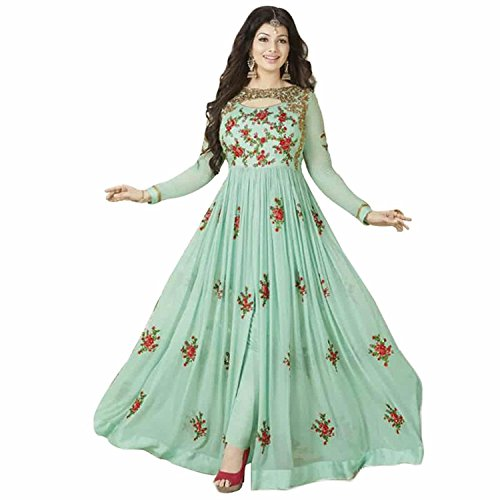 Women's Sky Blue Georgette Embroidered Long Anarkali Semi-Stitched Salwar Suit  available at amazon for Rs.1380