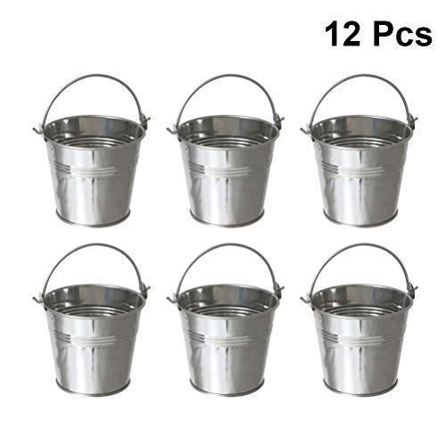 l Eimer Fries Eimer mit Griff Sukkulenten Eimer Lebensmittelbehälter 12 Stücke (Silber) ()