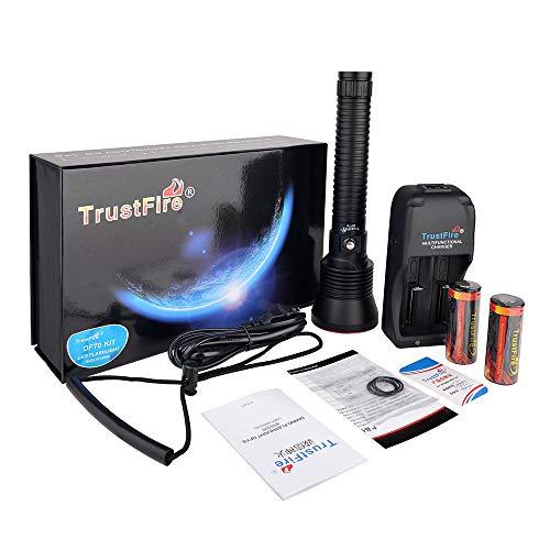 TrustFire DF70 Kit Tauchen Taschenlampe Unterwasser Lampe 3200 Lumen für Taucher Wasserdicht 70M - mit 2 x 26650 Akku, 1 x Ladegerät, 1 x Handschlaufe und 4 x Ersatz-O-Ringe