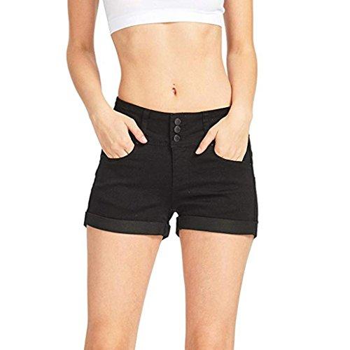 Goosuny Damen Jeans Shorts Mode Low Waist Jeansshorts Sommer Einfarbig Hüftjeans Hotpants Mini Denim Hosen Skinny Kurz Hosen Bermuda Jeansbermudas Röhrenjeans Sommerhosen(Schwarz,L)