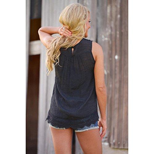 LONUPAZZ debardeur femme sans manches tops veste tank tops chemise blouse Noir