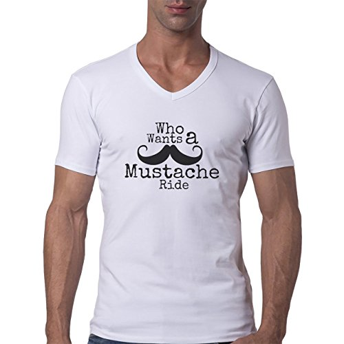 Moustache Ride Who Wants Logo Herren V-Neck T-Shirt Weiß