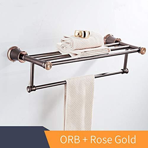 Mronstenlng Badezimmer Regale Wandregal im Badezimmer Messing Handtuchhalter Handtuch Tack Badezimmerzubehör Handtuchhalter ORB and Rose Gold -
