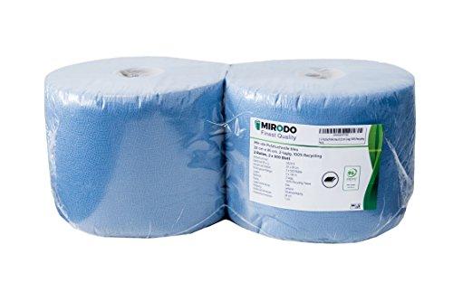 Mirodo Putztuchrolle blau 2-lagig 22 cm 500 Blatt 2 Rollen 100{39d93c9519ba97e7017b9b774600d9edc6d1ee4b0d5f499f02d066819f48b498} Recycling MADE IN GERMANY