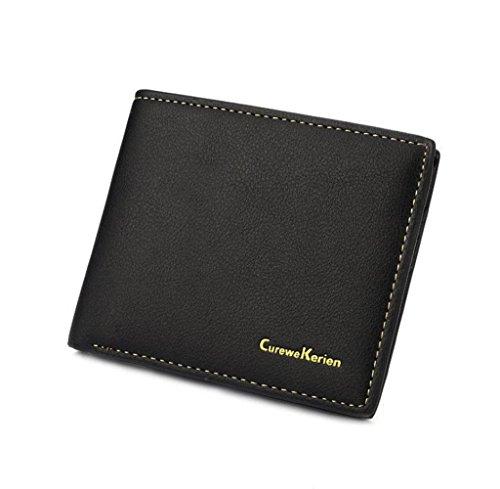 Geldbörsen, Rcool Männer Brieftasche Leder Geldbörse Kreditkarte Businesstasche (Schwarz) (Tasche Prada Schwarze Leder)