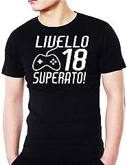 Idea Regalo - Wixsoo T-Shirt Maglietta 18 Anni Compleanno Livello Superato Uomo (L, Nero)