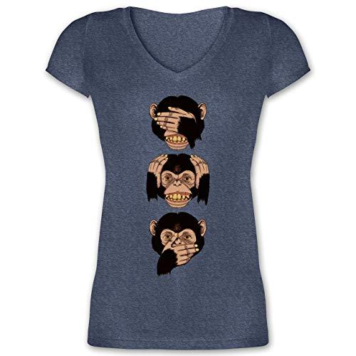 Statement Shirts - DREI Affen - Sanzaru - XL - Dunkelblau meliert - XO1525 - Damen T-Shirt mit V-Ausschnitt