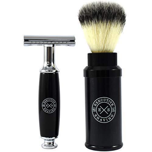 Executive Shaving Rasoir de Sécurité& Brosse Voyage Kit de Rasage - Lames non Incluses