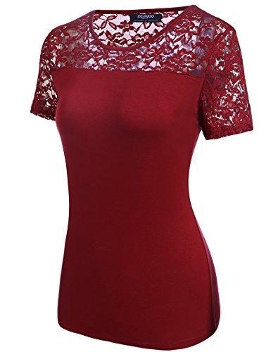 Zeagoo Damen Kurzarm T-Shirt Aus Floral Spitze Basic Shirt Spiztenshirt Tunika Baumwolle Tops Hemd Rot