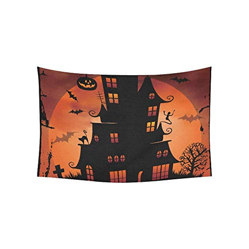 lloween Night Background with Haunted House and Tapestries Wall Hanging Flower Psychedelic Tapestry Wall Hanging Indian Dorm Decor for Living Room Bedroom 80 X 60 Inch ()