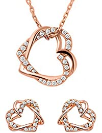 Angelfish Fashion Jewellery Heart In Heart Stylish Fancy Party Wear Pandant Earing Set For Girls And Women