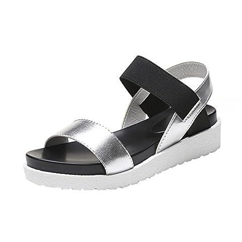♥ Loveso ♥ Damenschuhe 2017 Sommer Frauen Einfache Leder Flache Sandalen Schuhe Für Schwarz, Leopard und Silber (37, Silber)