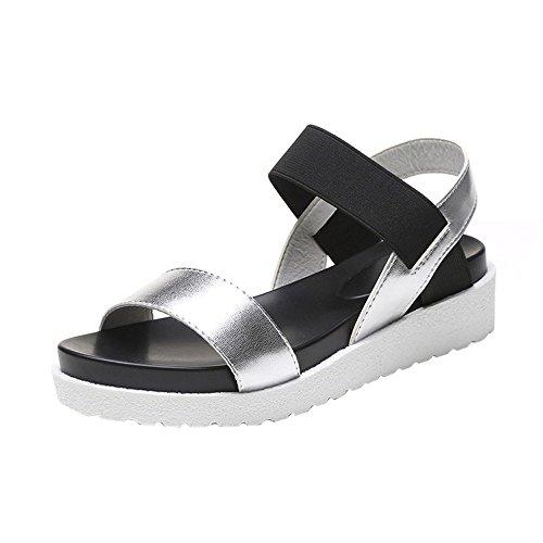 Louyihon-Mode Sandalen Frauen Leder Flache Sandalen Sandalen Sandals Saltwater Sandals Salt Water Damen Platform Fantasy(Schwarz,Silber,Braun) (Silber, 40)