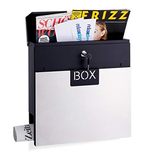 Relaxdays Briefkasten Edelstahl, mit Zeitungsrolle, Schloss, Din A4, Design Postkasten, HBT: 37 x 37 x 11 cm, Silber
