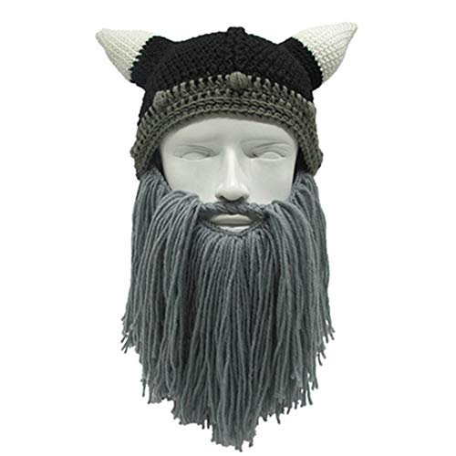 Lustige Barbar Viking Mütze Bart Horn Hut Handmade Knit Winter Warme Mütze Männer Frauen Geburtstag Party Geschenke Coole Cosplay Hüte Gray