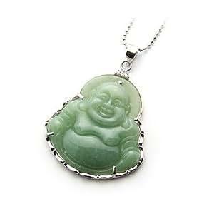 """Collier """"Bouddha rieur"""" En Jade -Argent 925/1000"""