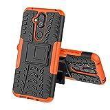 TenYll Nokia 8.1 Hülle, 2in1 Silikon Rückseite Schutzhülle,Heavy Duty Tough Rugged Shock Proof Case,Mit Halterung Doppeltem Schutz Cover für Nokia 8.1 -Orange
