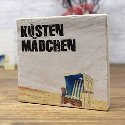 elbPLANKE - Küstenmädchen | 9,5x9,5 cm | Holzbilder von Fotoart-Hamburg | 100% Handmade aus Holz (Palette/Kiefer/Fichte/Birke) -