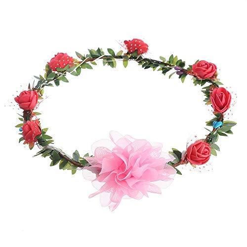 UOWEG Künstliche Kunstblume High Realistic Appearance LED-Licht Rose Flower Crown Blumenstirnband Garland Headpiece Party Festival -
