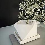 Bianco Piantatrice in Calcestruzzo Icosaedro Con Drenaggio E Piattino Quadrato