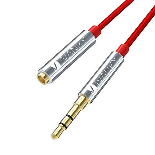 IVANKY Audio Verlängerungskabel, 3,5mm Aux Klinken Verlängerung Kabel Nylon kompatibel mit Kopfhörer, Apple iPod iPhone, Smartphones, MP3 Player - 2m Rot (Kupferhülse, vergoldete Kontakte)