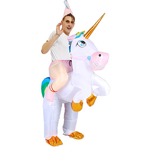 LOVEPET Einhorn Aufblasbare Kleidung Halloween Weihnachten Kind-Kind-Aktivitäten Tierhalterung Huckepack Kleidung Kinderleistungsrequisiten Adult (Parks Recreation-halloween-party And)