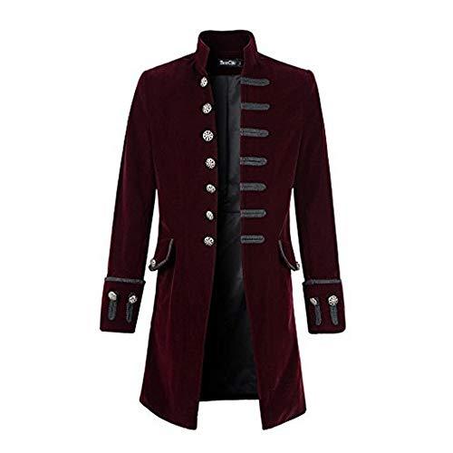 Zolimx Vintage Herren-Mantel Print Langarm Herrenjacke Stehkragen Mode Smoking Jacke Gothic Gehrock Uniform Kostüm Praty Trenchcoat Windbreaker Steampunk GrabenOutwear (Wein, L)