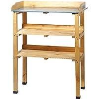 dobar 29150 Table à plantes en pin traité avec 6 crochets métalliques et plan de travail en zinc 76 x 37 x 102 cm