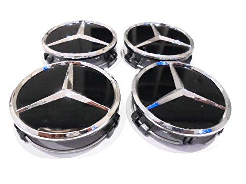 4 coprimozzi neri a incastro con centro in rilievo per cerchi in lega Mercedes AMG