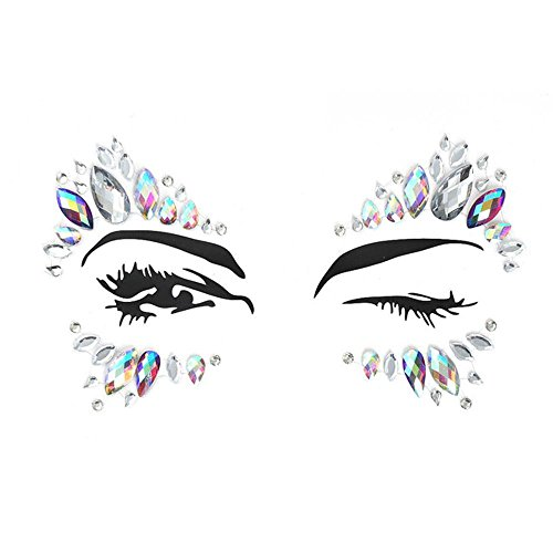 AOLVO 1 Sets Face Gems Strass Tattoo, Festival Jewels Augen Gesicht Stirn temporäre Tattoos Rave Glitzer Bindi Kristalle Rainbow Tränen Aufkleber Type - Frauen Zu Wie Die Machen, Lachen