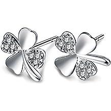 Leisial Pendientes de Trébol Diamantes de la Joyería Accesorios para Mujer Muchachas 1Par