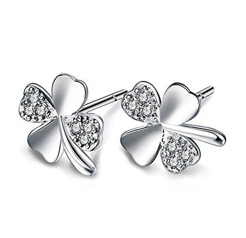 Westeng orecchini da donna, in lega di placcatura argento, anallergico, motivo: trifoglio, 1 paio