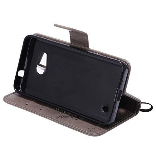 Custodia Microsoft Lumia 550 Cover Case, Ougger Fortunato Foglia Stampa Portafoglio PU Pelle Magnetico Stand Morbido Silicone Flip Bumper Protettivo Gomma Shell Borsa Custodie con Slot per Schede (Por Argento