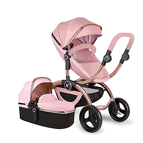 Baby Stroller,Babyfond-Kuddy High Landscape Two-Way Lightweight Folding Pushchair,Travel System PU Leather Sleeping Bassinet Hand-held Safe Seat for Newborn(Pink)
