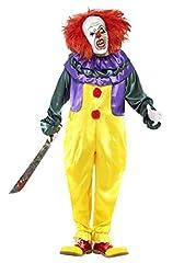 Idea Regalo - SMIFFYS Smiffy's 24376L - Horror Classic Clown Costume con Tuta e Maschera, Multicolore, L