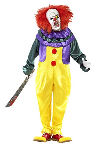 Smiffys Herren Horror Clown Kostüm, Jumpsuit und