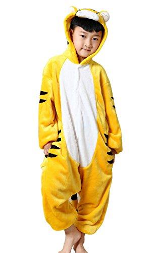 Happy Cherry Kind Schlafanzug Warmer Flanell Einteiler Pyjamas Unisex Tier Cosplay Kostüme Tierkostüm Tiger Dicke Nachtwäsche Kostüm Für Weihnachten Animal Sleepwear Geeignet Für 2 Bis 3 Jahre - (Kostüme Delphin Halloween)