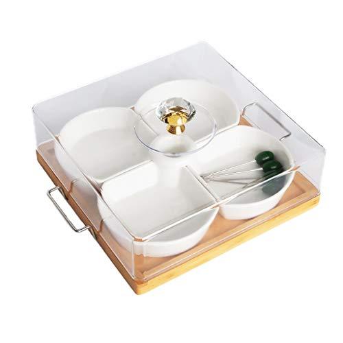 C-J-Xin Assiette polyvalente, assiette carrée en céramique Salon Assiette de fruits Gâteau Assiette de salade Cuisine Ménage Plateau plat de fruits (Couleur : A)