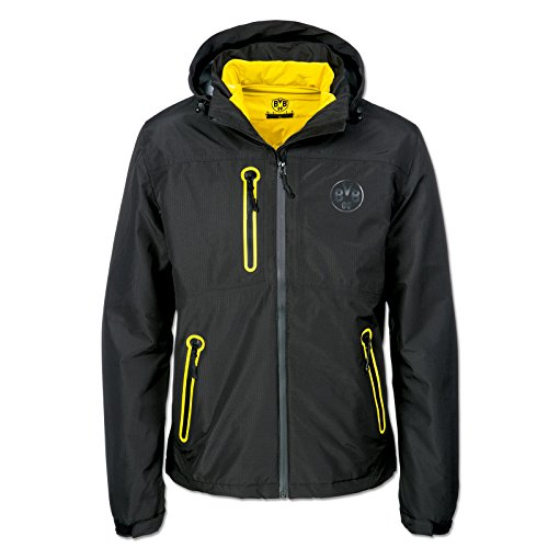Borussia Dortmund de 3en 1Función de Chaqueta, Negro, poliéster, S–XXL, Impermeable, Emblema de BVB, Capucha (Negro) Negro Small