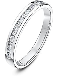 Theia 18ct White Gold Flat Court Shape 0.25ct Round and Baguette Diamond Channel Set 3mm Eternity Ring