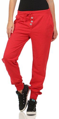 malito Damen Jogginghose im Classic Look | Sporthose in Unifarben | Baggy zum Tanzen | Sweatpants – Trainingshose 8021 (rot)