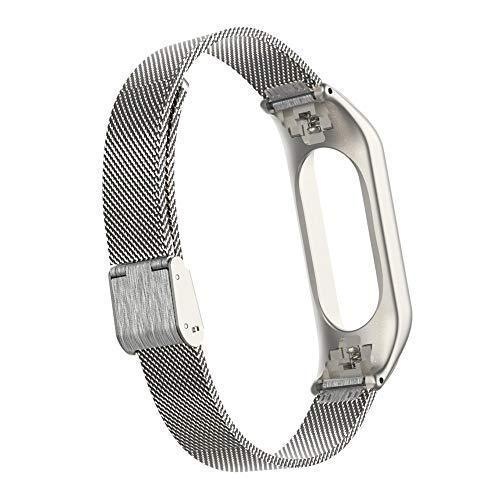Vamoro Für Xiaomi Mi Band 3 Milanese Edelstahl Handschlaufe Metallarmband Edelstahl Metall Uhrenarmband Magnet Uhrenarmband Sport Weicher Verschleißfest Ersatz Armband(Silber) -